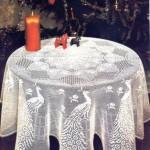 tavuskuşu desenli dantel fiskos örtüsü