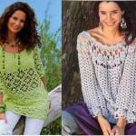 triko tığ işi bluz modelleri