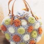 turuncu çiçekli örgü çanta modeli