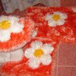 turuncu sakallı iple yapılan klozet takımı modeli