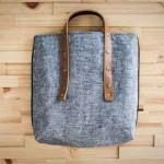 uzun deri kulplu kot çanta modeli