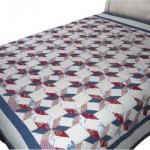 yıldız detaylı lacivert kırmızı beyaz kırkyama yatak örtüsü