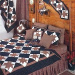 yıldız modelli kahverengi kırkyama yatak örtüsü