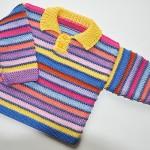 yakalı düğmeli çizgili bebek kazağı