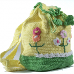 yeşil çiçekli örgü sırt çantası modeli