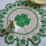 yeşil beyaz dantel örtü