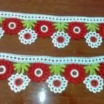 yeşil kırmızı beyaz halkalı havlu kenarı
