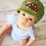 yeşil kaplumbağ desenli bebek şapkası modeli