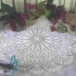 yuvarlak beyaz dantel masa örtüsü örnek