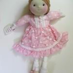 çantalı pembe elbiseli bez bebek modeli