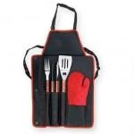 çatal kaşık desenli siyah mutfak önlük modeli