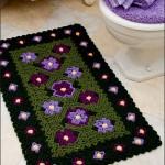 çiçek desenli banyo paspası