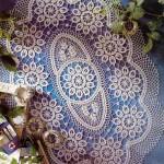 çiçek desenli dantel şömen tabla