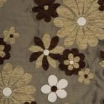 çiçek desenli kahverengi döşemelik kumaş modeli