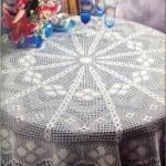 çiçek motifli dantel fiskos masa örtüsü modeli