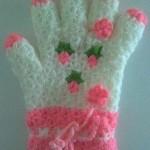 çiçek süslemeli eldiven lif modeli