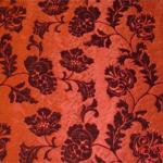 çiçekli kırmızı döşemelik kumaş modeli