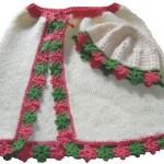 şapkalı beyaz bebek pelerin modeli