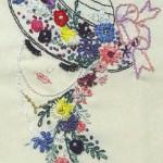 şapkalı kız desenli brezilya nakışı örneği