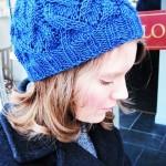 Y saç örgü ajurlu mavi bayan bere modeli