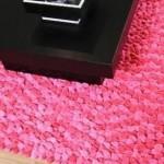 açık koyu pembe shaggy halı modeli