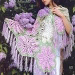 büyük pembe çiçekli örgü şal modeli