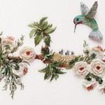 badem çiçekli kuş motifli brezilya nakışı örneği