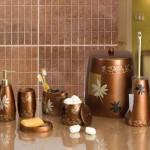 bakır rengi çiçek desenli banyo seti modeli
