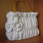 beyaz güllü selanik örgüden çanta modeli