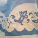 beyaz mavi aplike pike takımı