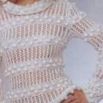 beyaz nohut örgülü delikli kazak modeli