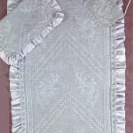 beyaz saten kumaşlı dantek seccade ve Kuran kabı