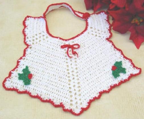 beyaz tığ işi bebek önlük modeli
