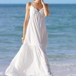 beyaz uzun bayan elbise modeli