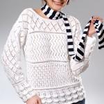 beyaz uzun kollu bayan merserize kazak modeli