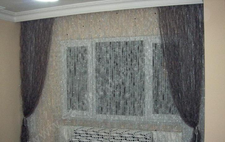 beyaz ve kahverengi sakallı ipten tül perde modeli