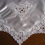 dantel kalp desenli ipek bohça modeli