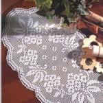 demet çiçek desenli dantel konsol örtü modeli