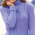 eflatun renkli boğazlı bayan kazak modeli