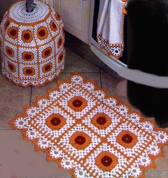 el örgüsü turuncu banyo paspas modeli