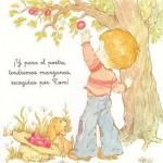 elma koparan çocuk figürlü dekupaj deseni