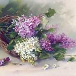erguvan çiçek desenli dekupaj resmi