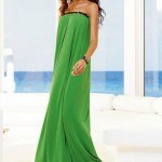 fıstık yeşili bayan uzun elbise modeli