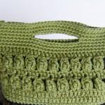 fıstık yeşili tığ işi örgü çanta modeli