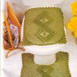 fıstık yeşili tığ işi klozet takımı