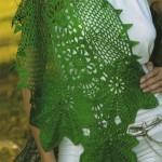 fıstık yeşili yaprak desenli örgü şal modeli
