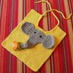 fil desenli sarı bebek önlük modeli