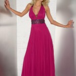 fuşya rengi kemerli uzun elbise modeli
