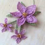 gönen iğne oyalı eflatun çiçek örneği
