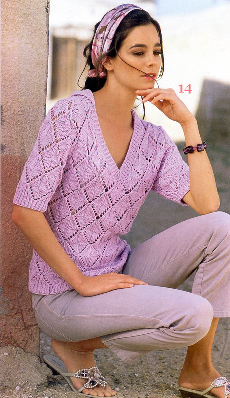 Пуловер С Ажурными Ромбами